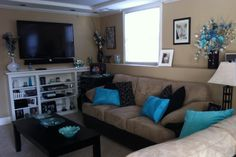 Living Room Brown And Teal On Pinterest