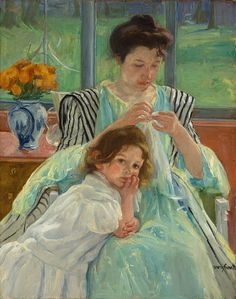 Young Mother Sewing, 1900  Mary Cassatt (American, 1844–1926)  Oil on canvas