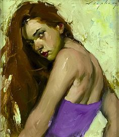 Artist: Malcolm Liepke, b. 1954  {contemporary figurative redhead female head shoulders back beautiful woman face portrait painting #loveart}