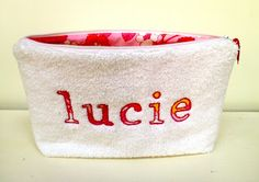 full name personalized terry cloth pouch