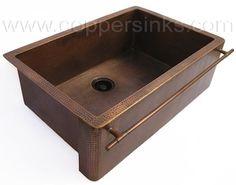 Copper apron front kitchen sink - towel bar Model: AL65-30 Antique copper - Hammered
