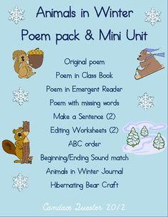 Animals in Winter Poem Pack/Mini Unit