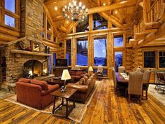 Sitting room in my dream log cabin...would love to sit here with all our family,