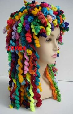 LOL! This is supposed to be a crochet hat, but I think it would be great for Halloween! A version of this would be AWESOME as a gift to a cancer patient! I would seem such a huge and fun gift of love to me, Wig, Crazy Hats, Crochet Hats, Curl, Crazy Hair Days, Hat Patterns, Rag Dolls, Yarn, Halloween