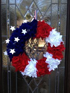 Patriotic 4th of July Door Wreath.