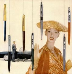 From a 1955 ad for Parker Pens. #vintage #office #supplies #1950s