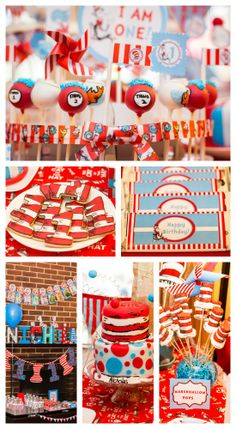 Awesome Dr. Seuss birthday party ideas, including gorgeous cakes, perfect for a boy birthday! See more party ideas at CatchMyParty.com. #drseuss #boybirthday #birthdaycake #partydecorations