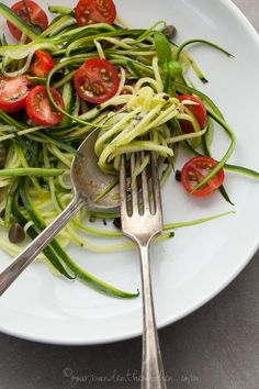 Zucchini Noodles with Caper Olive Sauce and Fresh Tomatoes