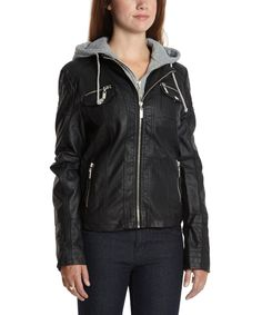 Black & Heather Gray Hooded Faux Leather Jacket