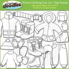 Winter Clothing Line Art