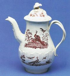 """Queen's ware rococo coffee pot, overglaze-printed with """"Liverpool Birds"""" by Guy Green, c1775."""