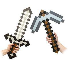 ThinkGeek :: Minecraft Foam Pickaxe and Iron Sword