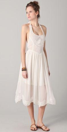 eyelet halter tea length wedding dress $200