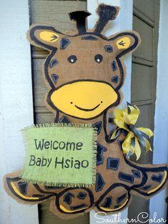 Giraffe Door Hanger to Welcome New Baby