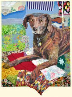 """""""Emma""""  by Leslie Gabriëlse.  Dog portrait, fabric plus acrylic paint."""
