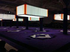 The Prada show set: neon lights and an enormous purple carpet as a runway #MFW #PRADA http://pic.twitter.com/DyyJ0Ya1