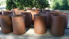 """Primitive Rusty Cans--use Rustoleum American Accents """"Cinnamon"""" for bottom layer; on top of that, spray a Rustoleum Multicolor Textured paint."""
