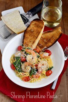 Shrimp Florentine Pasta via @Ann Brincks Girl Eats