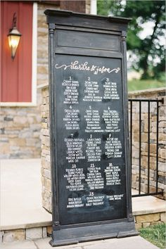 chalkboard seating chart sign #chalkboardweddingsign #southernwedding #weddingchicks  http://www.weddingchicks.com/2013/12/27/stately-southern-wedding/