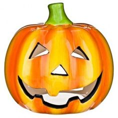 Create a miniature glowing pumpkin with this ceramic tea light holder. Burn candle away from children and pets