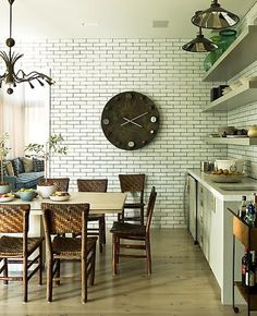 Little Green Notebook: White Subway Tile with Dark Grout