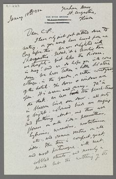 Letter from Van Wyck Brooks to Charles Prendergast (St. Augustine, Florida) January 18, 1932 at Williams College Museum of Art.