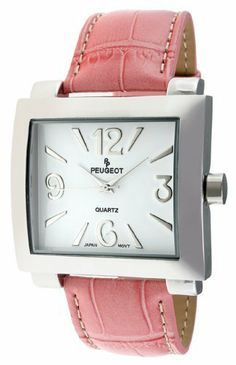 Peugeot Women's 706PK Silver-Tone Pink Leather Strap Watch Peugeot. $50.50. Water-resistant to 99 feet (30 M). Limited lifetime warranty. Accurate Japanese-quartz movement; durable mineral crystal. Genuine leather strap. Free lifetime battery replacement from Peugeot. Save 30%!