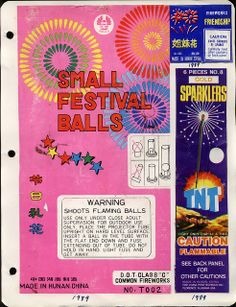 fireworks packaging, 1989