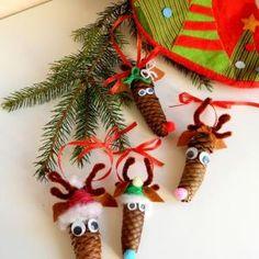 Reindeer from pine cones