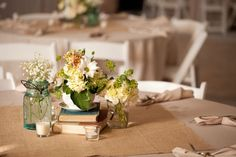 Stacked Book Centerpieces