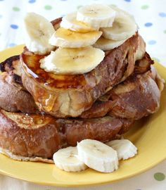 Peanut- Butter Banana French Toast with Honey Drizzle #recipe