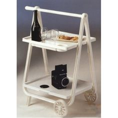Serving Cart, Tea Trolley, Foldable, Handle, Indoor or Outdoor, with Wheels, Italian, White
