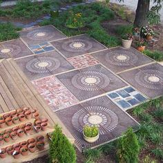 patio design, tree grate, walkway, stone patios, stone dust patio, backyard, funki patio, patio ideas