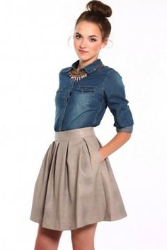 Quilted Vegan Leather Skater Skirt from Calico | Camille Styles