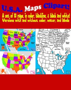 Terrific posters and clipart for your classroom! USA MAP CLIPART - Ten maps in color, black and white, and blackline. Maps come as blank templates and with place names.  Easily resizeable 300 DPI, PNG.  $