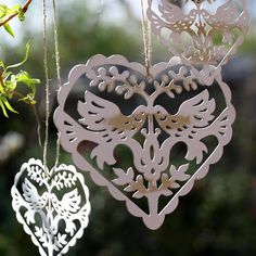 Vintage Style Love Bird Hanging Hearts that would be perfect as #pew_markers, hanging from chandeliers or as #wedding #favors for a Bird Theme Wedding $4.60 - see more beautiful bird theme wedding ideas at this Pinterest board