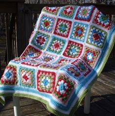 squar afghan, crochet afghans, crochetgranni, colors, crochet blanket