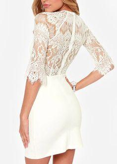 Chic Lace Splicing Half Sleeve White Sheath Dress