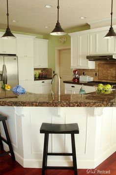 granite colors, kitchen makeovers, painted cabinets, open kitchens, white cabinets