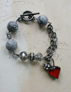 The One Heart Bracelet - Handmade Soldered Heart and Agate