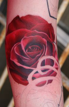 3d rose red tattoo for girls