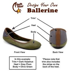 Customize your Ballerine flat with your own color and motif choices! Handmade in Oregon by #softstarshoes. #flats #shoes #women