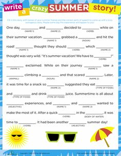Worksheets: Crazy Story: Summer  Mad Libs fill in the blank story