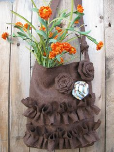 Burlap Ruffle Tote Bag with Roses in Brown  by supplierofdreams, $52.00