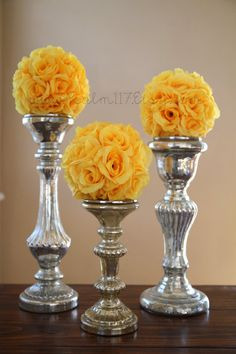 """6  - 6 inch wide - YELLOW - wedding pomanders -you choose ribbon color - sunshine sunbeam maize bright yellow golden wedding color chart - silk flower rose kissing ball pomander hanging flower ball pom pom flower girl basket ball - 18 colors available in 3 sizes: 4.5"""" 6"""" and 8"""". custom orders are welcome and are ready to ship in 7 days! www.Psalm117.etsy.com"""