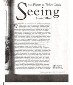 seeing essay annie dillard · last week when i was reading barbara kingsolver's essay what good is a story she mentioned a book by annie dillard referring to it as a great book, so.