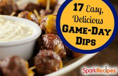 17 Dunkable Game-Day Dips. Yummy #recipes for #tailgating season! | via @SparkPeople #football #tailgate #snack