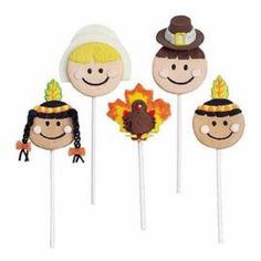 "The first Thanksgiving was surely a historic gathering. These cookie pop characters represent the Indians, Pilgrims and ""guest of honor"" you might welcome to your holiday table."
