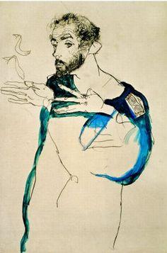 Egon Schiele,  Gustav Klimt in blue painter's smock, 1913