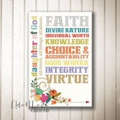 4x6 size Instant Download  Young Women Values Daughter by CdotLove, $5.00 #LDS #Young Women #YW Values